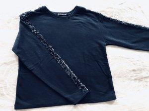 Stradivarius Sweater dunkelblau Pailletten