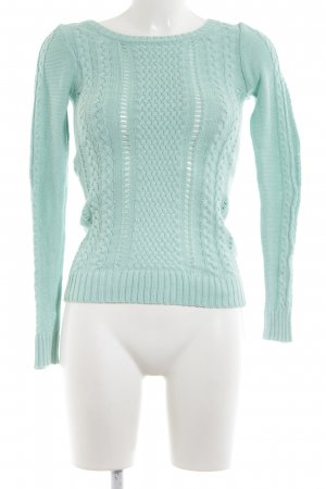 Stradivarius Cable Sweater turquoise cable stitch casual look