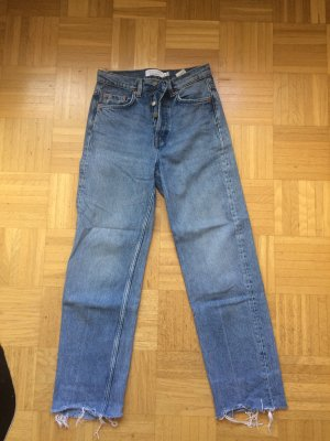 Straight Jeans High Rise Fransig