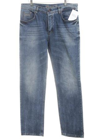 Jeans coupe-droite bleu style décontracté