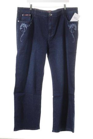 Jeans coupe-droite bleu foncé style décontracté