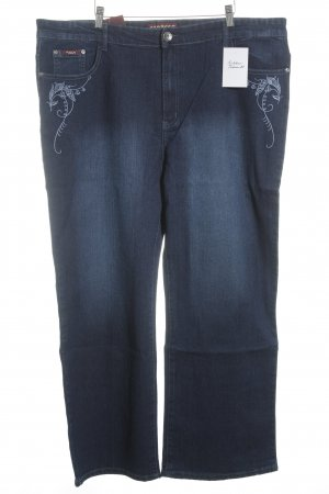 Straight-Leg Jeans dunkelblau florales Muster Casual-Look