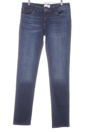 Jeans a gamba dritta blu scuro-bianco sporco look pulito