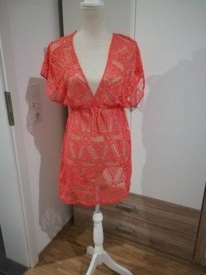 Robe de plage orange fluo