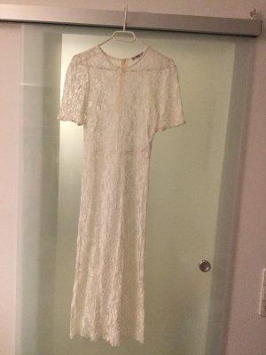 Zara Vestido de encaje blanco puro-blanco