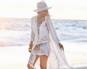 Strandmode weiß Boho Weste Bikini Strand Jacke Überwurf Kimono Poncho ONE SIZE Einheitsgröße 38 40 42 44 46 Over Size