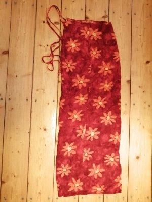 Falda cruzada naranja-rojo oscuro