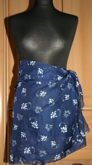 Jupe portefeuille bleu-blanc polyester
