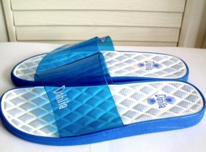 Dahlia Sandalias de playa azul neón-blanco Sintético