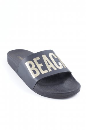 Beach Sandals black-gold-colored printed lettering casual look