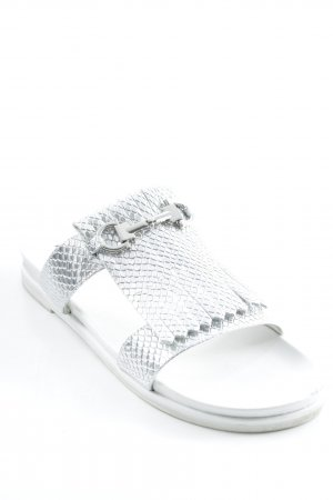 Beach Sandals silver-colored-white street-fashion look