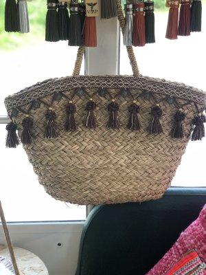 Bolso tipo cesta marrón claro-beige