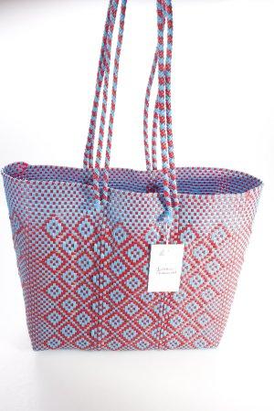 Strandtasche blau-rot geflochten
