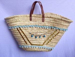 Bolso tipo cesta beige-azul neón