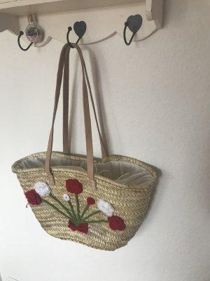Strandtasche mit Blumen Stickereien neu Handarbeit