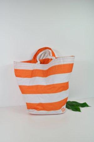 Strandtasche mit Streifen Orange - Weiß