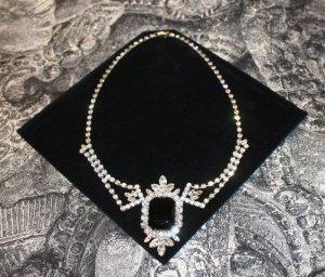 Vintage Colliers ras du cou noir-argenté métal