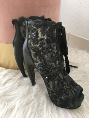 Strass High Heels Peeptoe edel glamourös schwarz