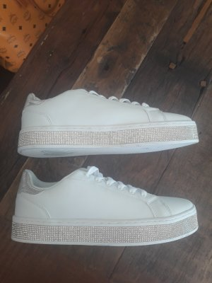100% Fashion Sneakers met veters wit-zilver