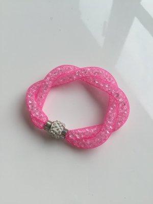 Strassarmband Armband Strass rosa Silber neu