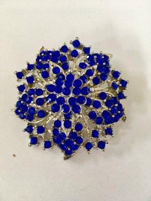 Strassbrosche blau - silber - Acryl - 5 cm x 5 cm