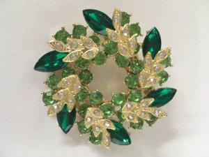 Strassbrosche grün/hellgrün - gold - Glas/Acryl - 5 cm x 5 cm