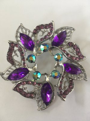 Strassbrosche lila/violett/rosa/türkis - Glas/Acryl - silber - 5,5 x 5,5 cm