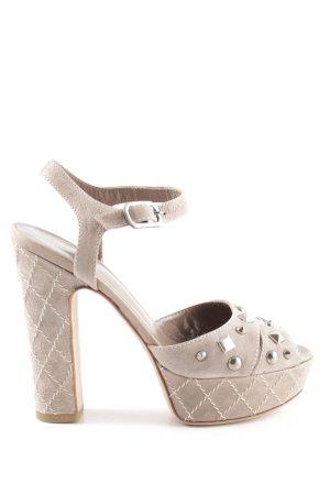 Strategia Platform High-Heeled Sandal natural white quilting pattern elegant