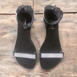 Sandalias de tiras negro-color plata
