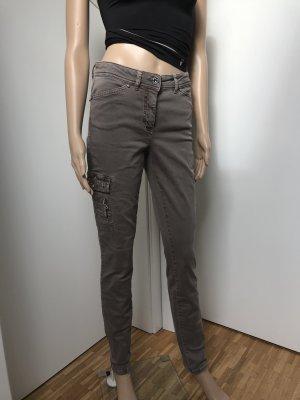 Biba Drainpipe Trousers grey brown cotton