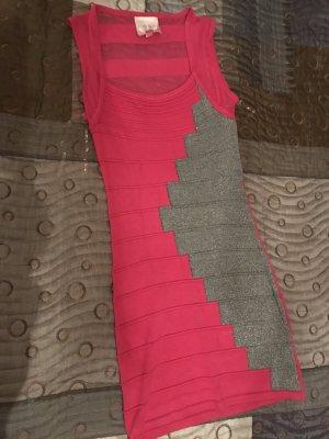 Strechkleid in Pink und Silber/Glitzer