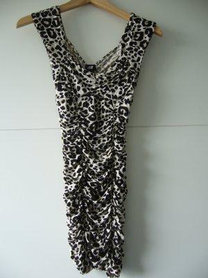 Strechkleid Minikleid Kleid Leoprint Raffung H&M XS 34