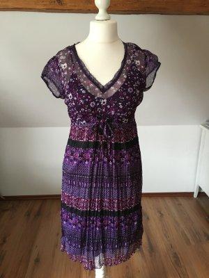 Street One 40 lila Kleid Sommerkleid schwarz purpur L 42