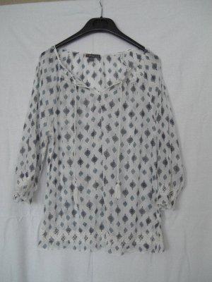 Street One Bluse transparent weiß mit blauem Druck, Gr. 38