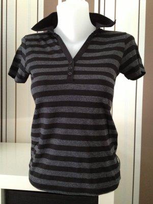 Street One - Cecil Polo T-Shirt Gr 36 Schwarz grau gestreift *rockabillty*