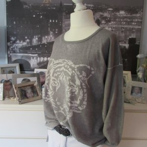 Street One * Cooler Leichtstrick Pullover * hellgrau-weiß Tigerkopf * 42