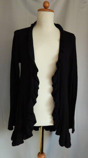 Street One, Feinstrick Jacke mit umlaufendem Volant,schwarz,Baumwolle,Gr. 42