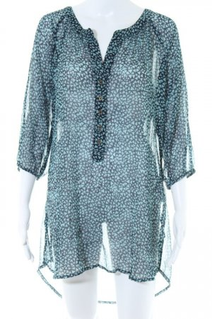 Street One Hemd-Bluse türkis-dunkelblau grafisches Muster Business-Look