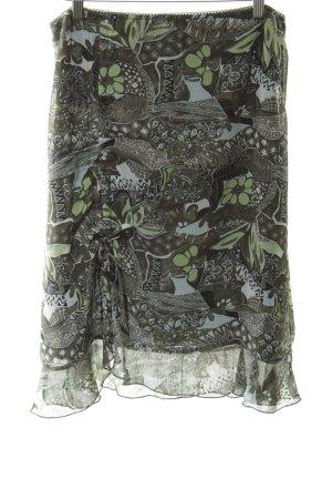 Street One High Waist Skirt green-khaki flower pattern casual look