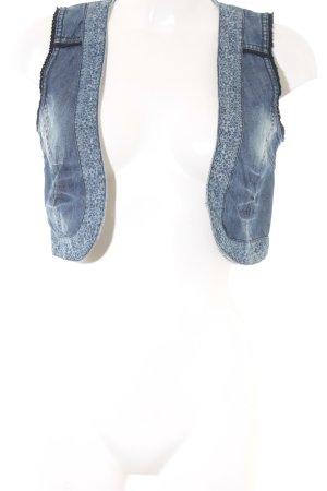 Street One Jeansweste kornblumenblau-stahlblau abstraktes Muster Jeans-Optik