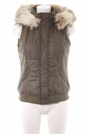 Street One Hooded Vest green grey-natural white fluffy