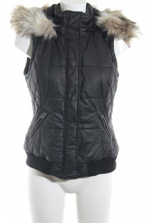 Street One Hooded Vest black quilting pattern casual look