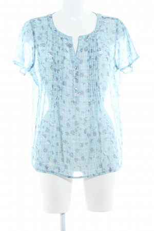Street One Kurzarm-Bluse himmelblau-wollweiß florales Muster Casual-Look