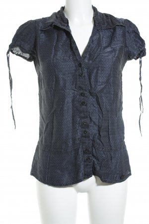 Street One Kurzarm-Bluse schwarz-dunkelblau Blumenmuster Casual-Look