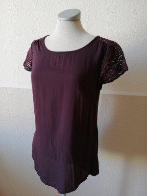 Street One kurzarm Shirt Spitze Gr. 34 XS Modal bordeaux lila