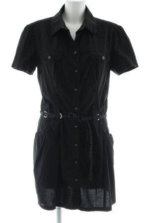 Street One Kurzarmkleid schwarz-weiß Punktemuster Casual-Look
