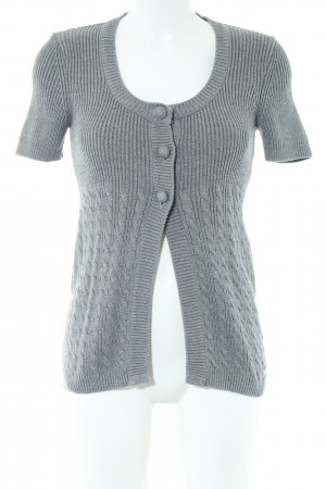Street One Short Sleeve Knitted Jacket light grey cable stitch casual look