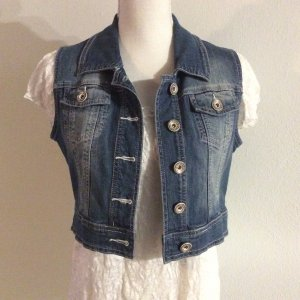 Street One Denim Vest steel blue