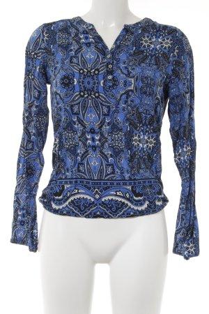 Street One Langarm-Bluse blau-schwarz abstraktes Muster Casual-Look