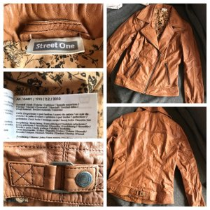 Street One Lederjacke aus echtem Leder, Gr. 34, cognacfarben
